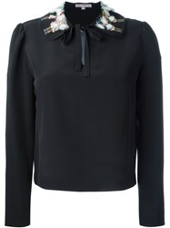 Olympia Le Tan Embroidered Collar Shirt Black