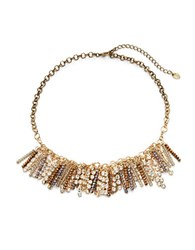 Cara Beaded Mesh Chain Necklace Gold