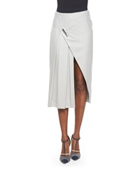 Prabal Gurung Faux Wrap Pleated Midi Skirt