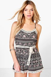 Boohoo Printed Crochet Trim Playsuit Black