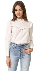 La Vie Rebecca Taylor Long Sleeve Pop Ruffle Blouse Chalk