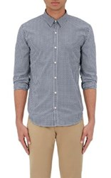 Barneys New York Men's Gingham Cotton Jacquard Shirt Navy White Navy White