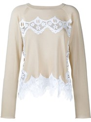 Chloe Lace Knit Jumper Nude And Neutrals