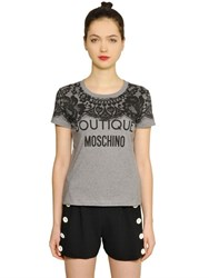 Boutique Moschino Lace Printed Cotton Jersey T Shirt