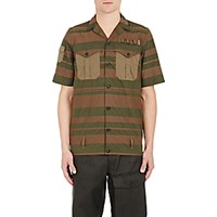 Kolor Men's Combo Short Sleeve Shirt Dark Green