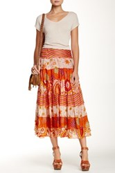 Chaudry Silk Printed Skirt Orange