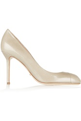Sergio Rossi Cachet Textured Patent Leather Peep Toe Pumps Nude