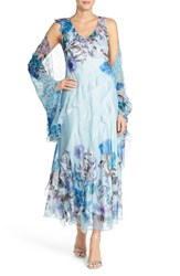Women's Komarov Floral Chiffon Gown With Shawl