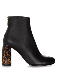 Stella Mccartney Tortoiseshell Block Heel Faux Leather Ankle Boots Black