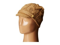 Michael Michael Kors Cable Knit Peak Hat With Knit Brim Dark Camel Knit Hats Taupe