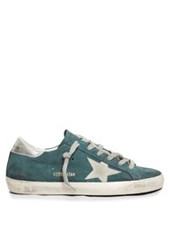 Golden Goose Super Star Low Top Suede Trainers Green