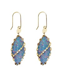 Lana Jewelry 14K Yellow Gold Frosted Marquis Opal Drop Earrings