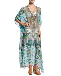 Camilla Beaded Lace Up Front Long Caftan Coverup Plaza Nueva