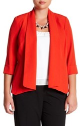 Kasper Open Front Cardigan Plus Size Red
