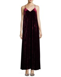 Darian Group Velvet V Neck Maxi Dress Burgundy