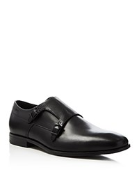 Hugo Boss Squamok Monk Strap Plain Toe Loafers Black