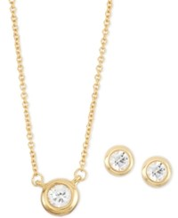 Macy's White Sapphire 2 Pc. Bezel Set Stud Earring And Pendant Necklace Set 1 2 Ct. T.W. In 14K Gold Plated Sterling Silver Yellow Gold