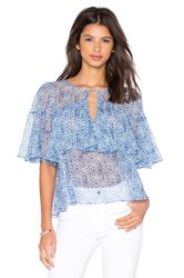 Rebecca Taylor Short Sleeve Shibori Ruffle Top Blue