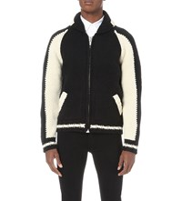 Palm Angels Contrast Wool Blend Bomber Jacket Black White