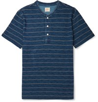 Faherty Striped Slub Cotton Jersey Henley T Shirt Blue