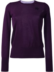Rochas Perforated Detailing Pullover Pink And Purple