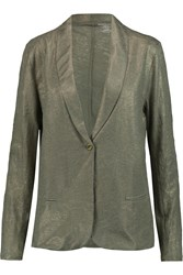 Majestic Metallic Linen Blazer Green