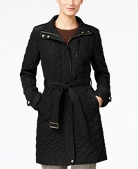 Cole Haan Faux Leather Trim Belted Quilted Coat Black