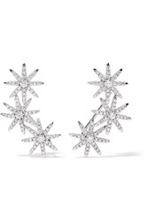 Kenneth Jay Lane Starburst Silver Plated Cubic Zirconia Earrings