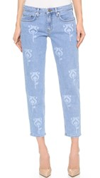 Victoria Beckham Printed Tapered Jeans Washed Tulip Laser
