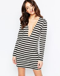 Motel Retro Knit Stripe Shift Dress With Plunge V Neck Black