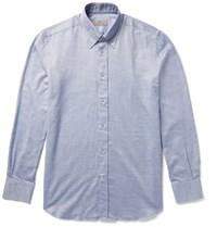Canali Button Down Collar Cotton Chambray Shirt Blue