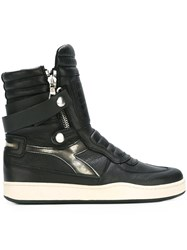 Diadora Zipped Strappy High Tops Black