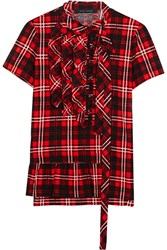 Marc Jacobs Ruffled Plaid Cotton Jersey Top Red