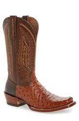 Ariat Men's Super Stakes Ostrich Leather Cowboy Boot Brandy Ostrich Leather