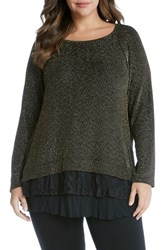 Karen Kane Plus Size Women's Lace Inset Sparkle Top