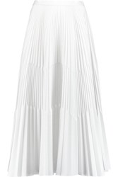 Vionnet Pleated Cotton Blend Cloque Midi Skirt White