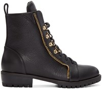 Giuseppe Zanotti Black Leather Zip Boots