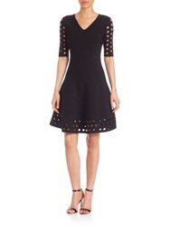 Milly Cutout Fit And Flare Dress Black