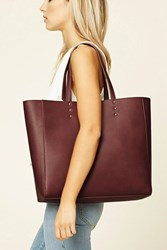 Forever 21 Faux Leather Tote Bag Burgundy