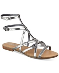 Guess Women's Mannie Strappy Flat Sandals Women's Shoes Silver