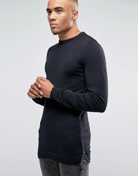 Asos Muscle Fit Longline Knitted Jumper With Side Zips Black