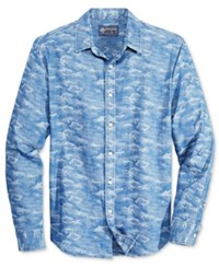 American Rag Men's Sylvain Camouflage Long Sleeve Shirt Only At Macy's Blue