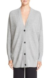 Vince Women's V Neck Mesh Panel Double Face Wool And Silk Cardigan