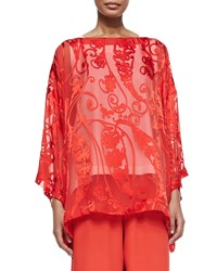 Eskandar 3 4 Sleeve Paisley Tunic Red