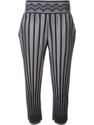Issey Miyake Pleats Please By Stripe Detail Cropped Trousers Grey