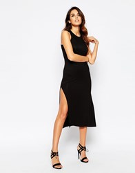 Club L Racer Front Midi Dress With Extreme Side Split Black
