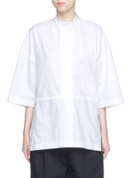 Victor Alfaro Diagonal Stripe Drop Shoulder Tunic Shirt White