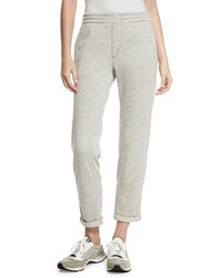 Brunello Cucinelli Cashmere Blend Jogger Sweatpants Light Gray