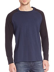 Blk Dnm Two Tonal Raglan Sleeve Tee Blue Black