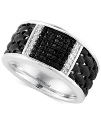 Effy Collection Gento By Effy Men's White And Black Sapphire Ring 1 2 Ct. T.W. In Sterling Silver